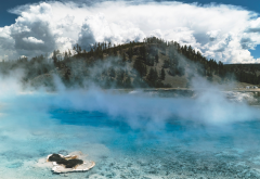mist, yellowstone national park, springs, nature, mountains, clouds wallpaper