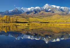 eshtikel plato, mountains, kurai, altai republic, russia, nature, reflection wallpaper