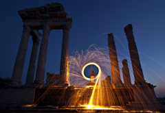 greece, ruins, fire, sparks, twilight, city wallpaper