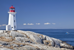 peggys point lighthouse, lighthouse, rocks, sky, nature, peggys cove lighthouse, peggys cove, nova scotia, canada wallpaper