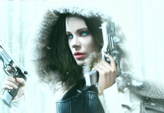 underworld: blood wars, movies, gun, snow, winter, fur, late beckinsale, selene wallpaper