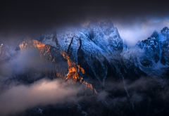 sunrise, dawn, clouds, mountains, mist, mountain peaks, nature wallpaper