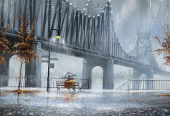 city, bridge, fall, couple, art, picture, painting, autumn, rain wallpaper