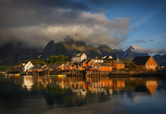 olenilsoya, village, northern norway, lofoten islands, reflection, norway, nature, sea, mountains, clouds, town wallpaper
