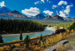 national park, alberta, canada,banff, bow river, train, railway, rails, mountains, forest, nature wallpaper