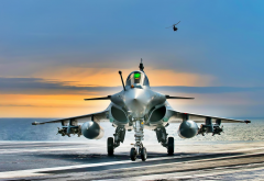 dassault rafale, aircraft, deck, aircraft carrier, sea wallpaper