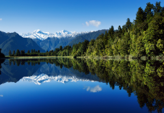 new zealand, lake, reflection, mountains, forest, water, sky, nature wallpaper