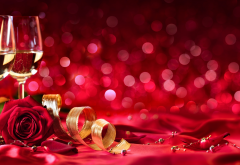 ribbon, wine, rose, petals, champagne, buds, flowers, holidays wallpaper
