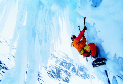 climber, ice, extreme, winter, snow, sport wallpaper