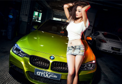 bmw 3-series, asian, girl, women, jeans shorts, cars, brunette, bmw wallpaper