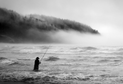 fisherman, fog, waves, extreme sports, fishing, sea, nature, fishing rod wallpaper