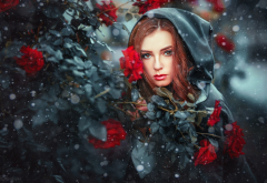 girl, model, snow, rose, women, redhead, hood wallpaper