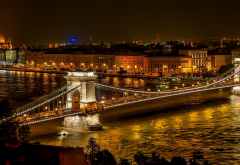 chain bridge, budapest, architecture, river, hungary, city, building, cityscape, lights, night wallpaper