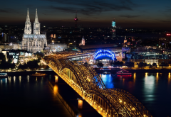 cologne, germany, cologne cathedral, architecture, river, rhine, city, building, cityscape, lights, night, bridge, city wallpaper