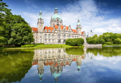 new town hall, new city hall, hanover, germany, reflection, lake wallpaper