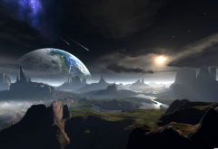 planet, meteors, surface, art, space, graphics, 3d wallpaper