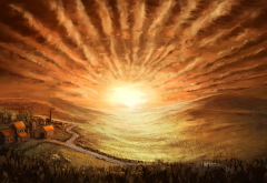 landscape, houses, field, sky, sun, painting, art wallpaper