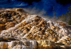 wyoming, yellowstone national park, mammoth hot springs, nature wallpaper