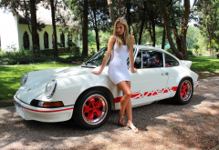 women, white dress, sexy legs, cars, 1580 porsche 911 carrera 2.7 rs, ducktail, porsche 911 carrera, porsche 911, porsche wallpaper