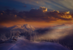 alps, house, clouds, forest, italy, landscape, mist, mountains, nature, snow, winter wallpaper
