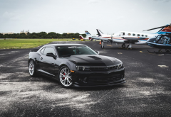 chevrolet camaro, chevrolet, airplane, helicopter, cars, aircraft, black cars, vossen wheels wallpaper