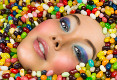 sweets, portrait, candies, abstract, colorful, face wallpaper