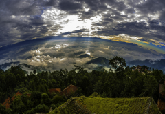 nature, landscape, Nepal, sunrise, trees, clouds, mountain, sun rays, rooftops, sky, panoramas wallpaper