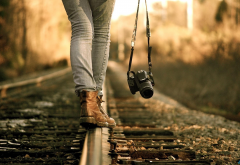 legs, jeans, rails, railway, camera wallpaper