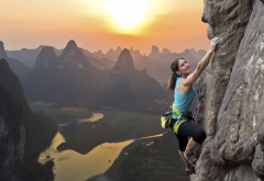rock climbing, china, women, extreme, sport, mountains, sunsey, nature,  wallpaper