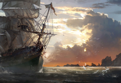 assassins creed iv: black flag, painting, sailfish, art, cloude, ship, sea, art, video games wallpaper