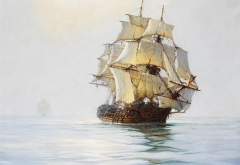 painting, sea, sailboat, frigate, montague dawson, ship wallpaper