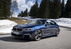 2018 bmw m550i xdrive, bmw g30, cars, bmw m550i, bmw, snow wallpaper