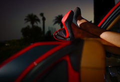 women, model, legs, high heels, stiletto, car, car interiors, black heels, palm trees, evening, dept wallpaper