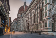 architecture, old building, town, street, urban, Florence, Italy, lights, cathedral, arches, Gothic wallpaper