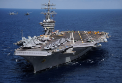 nimitz, uss dwight d. eisenhower, cvn-69, aircraft carrier, aircraft, helicoptert, sea, ship wallpaper