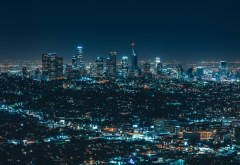 los angeles, city, lights, night, usa, ckyscrapers wallpaper