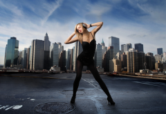 headphones, women, city, music, dancer, girl, women wallpaper