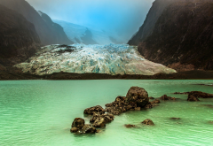 landscape, nature, mist, glaciers, lake, Chile, mountain, cold, water, green wallpaper