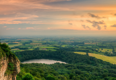 valley, nature, landscape, lake, tree, sunset, sutton bank, north york moors national park, england wallpaper