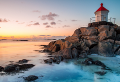 norway, lofoten, eggum, nature, sunset, coast, lighthouse wallpaper