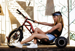 girl, women, jeans shorts, sneakers, trike, bicycle, joan lj, joan le jan wallpaper