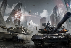 armored warfare, video games, tank, city, t-90 wallpaper