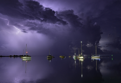 thunderstorm, sea, clouds, yachts, reflection, nature, lightning wallpaper