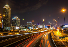 Atlanta, USA, city, night, lights, street light, building, skyscraper, long exposure wallpaper