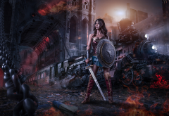 warrior, sword, shield, night, train, art, fantasy, steampunk, railroad wallpaper