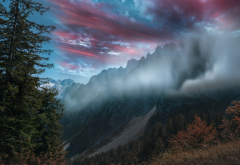 alps, mountains, haze, fog, sky, nature wallpaper