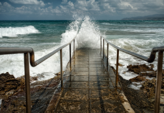 sky, waves, surf, stairs to the sea, shore, rocks, pier, nature wallpaper