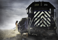 train, smoke, women, girl, brunette, white dress wallpaper