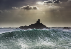 sea, waves, dark, sky, storm, lighthouse wallpaper