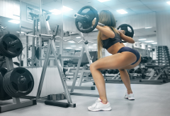 girl, women, brown-haired, sport, gym, squat, bar, sportswear wallpaper